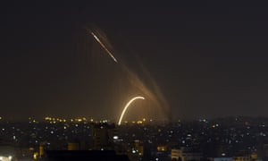 Rockets launched from Gaza on Wednesday. An Egyptian-brokered truce was due to come into force at 5.30am local time on 14 November.