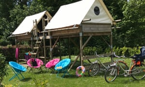 stilted tents at Camping Le Chateau des Tilleuls,