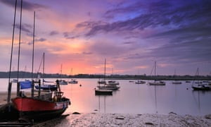 All is rosy … dawn on the Deben estuary, Waldringfield.