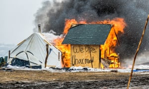 At Standing Rock, water protectors chose to ceremonially burn the camp and its sacred structures, rather than have it bulldozed by outside forces.