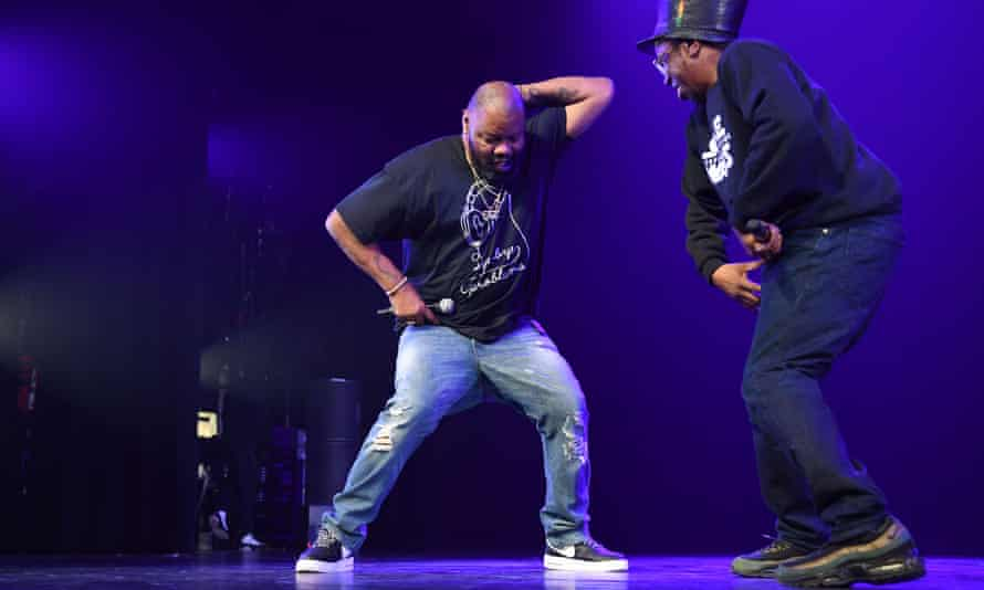 Biz Markie, left, and Jonzi D co-hosting Breakin Convention at the Apollo theatre, New York, in 2017.
