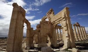 The courtyard of the sanctuary of Baal Shamin in the ancient oasis city of Palmyra,