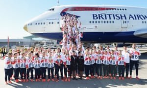 The 2016 British Olympic team show off their medals after arriving back at Heathrow from the Rio Games