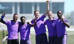 Jan Vertonghen and his Tottenham teammates at Real Madrid's training ground on Thursday.