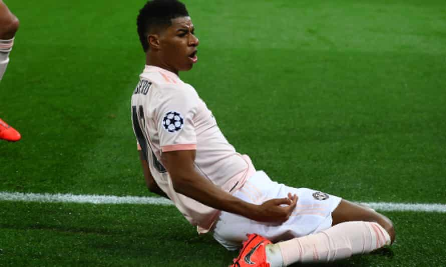 Marcus Rashford after scoring against PSG in the Champions League.