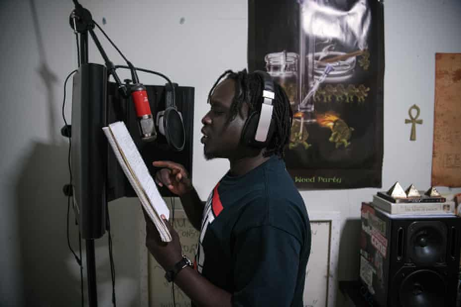 Buomkuoth Bol AKA rapper musician 'BK Lawd' practising at home in Noble Park, Melbourne