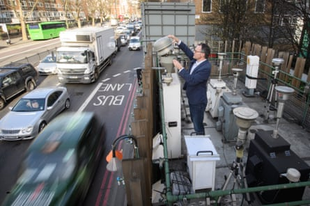 Traffic is monitored at the pollution measurement station on Marylebone Road in London