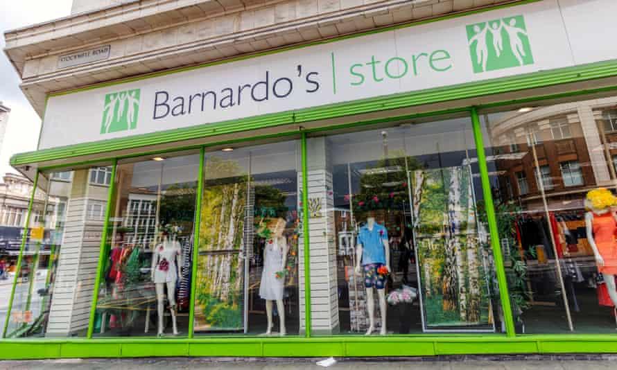 Barnardo's charity store front on Stockwell Road, Brixton, London.