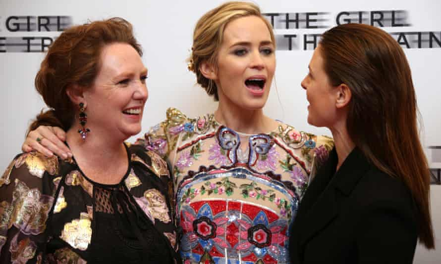 Paula Hawkins, left, with Emily Blunt, centre, and Rebecca Ferguson at the London premiere of The Girl on the Train last month.