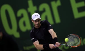 Andy Murray on his way to victory over Nicolás Almagro at the Qatar Open.