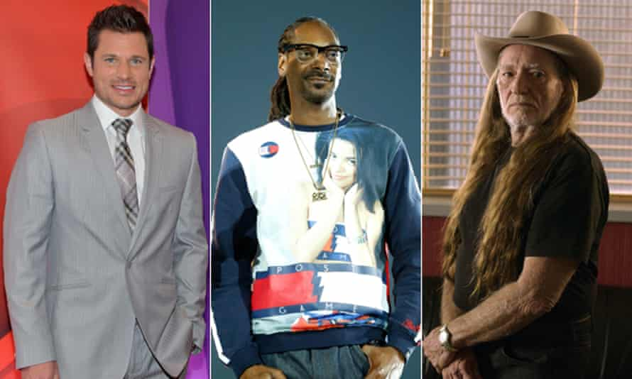 Marijuana business backers: Nick Lachey, Snoop Dogg and Willie Nelson.