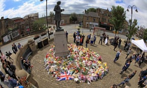 Floral tributes to Jo Cox in Birstall.