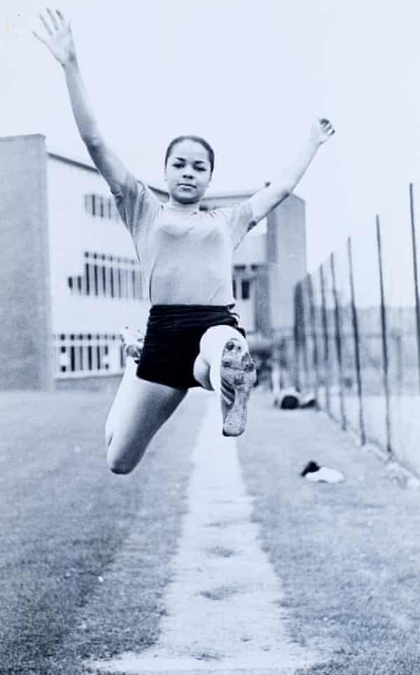 Long jump training, aged 16.