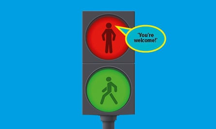 Traffic light with green man walking, red man stopped and You're welcome in speech bubble