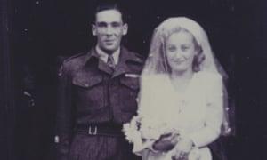 War bride: Bill and Rena on their wedding day.