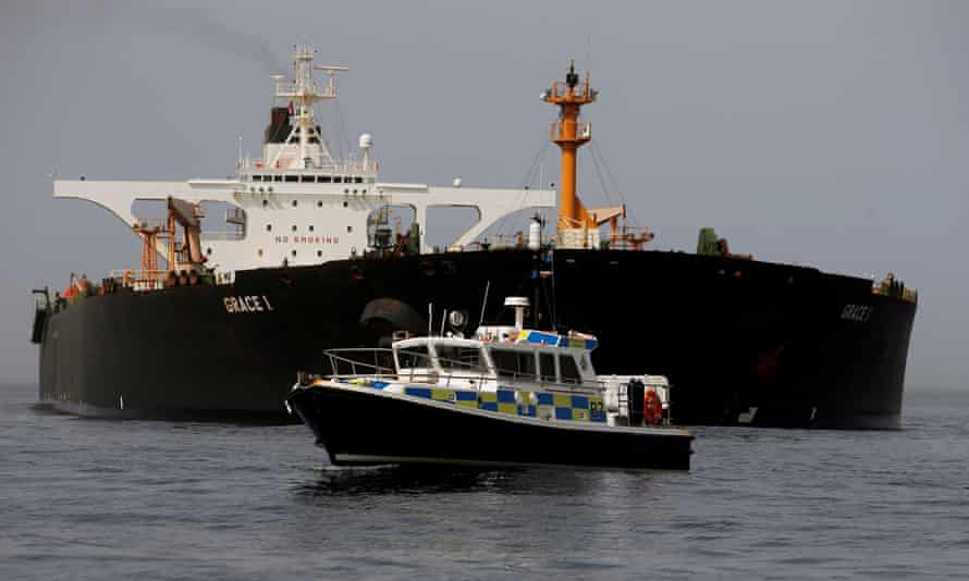 A Royal Gibraltar Police's boat guards the Iranian oil tanker Grace 1