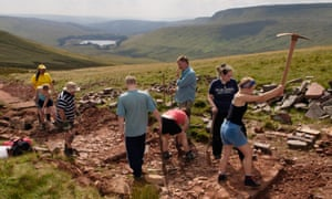National Trust volunteers relaying a footpath in Wales