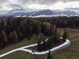 Graubunden, Switzerland. An artificial snow trail created in the village of Lenzerheide