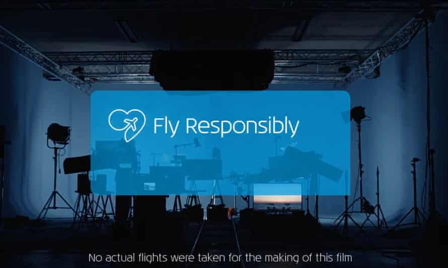 An image from the KLM video that encourages travellers to consider the environmental impact of flying