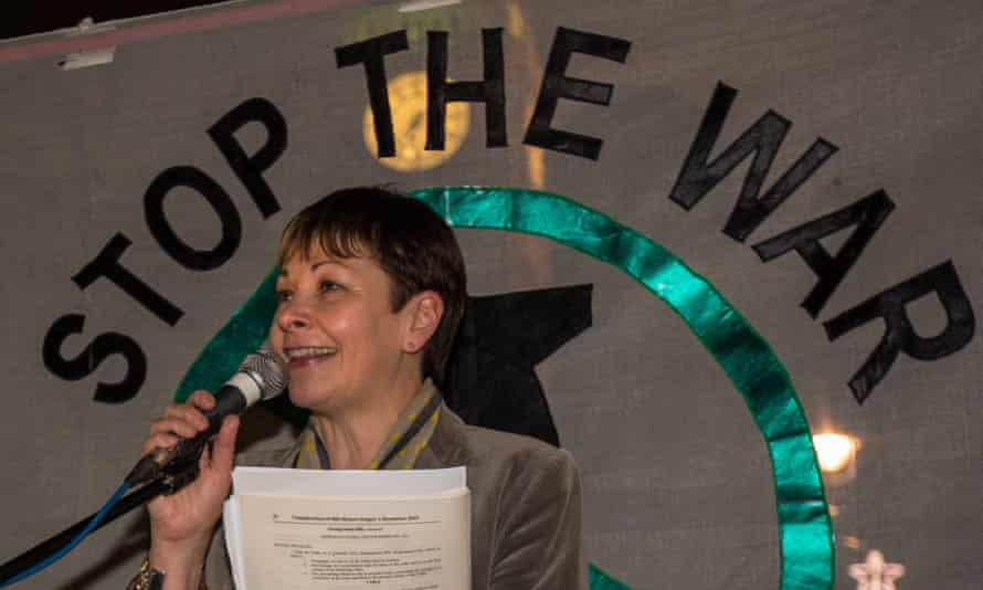 Caroline Lucas speaking at a recent Stop the War Coalition event.