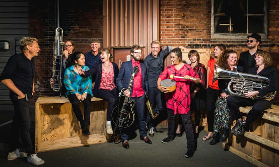 Maluba Orchestra, featuring Fredrik Lundin, far left, Kasper Bai (centre, with guitar) and Marilyn Mazur (in pink, on percussion).