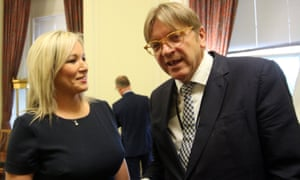 Guy Verhofstadt with Sinn Féin's Michelle O'Neill at Stormont