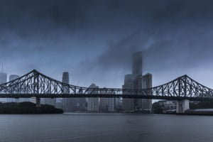 Brisbane is shrouded by dark cloud as the entire region is swamped by the latter stages of cyclone Marcia. In total, more than 3,000 calls were made to the Queensland Fire and Emergency Services, but reports indicate there were no injuries.
