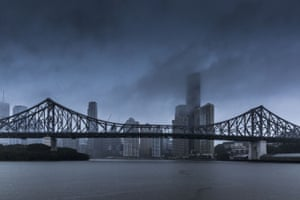A storm over Brisbane and the Story Bridge in February 2015 from Cyclone Marcia