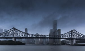 Rain falls on the Brisbane central business district