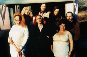 The team … back row, Mary Vivian Pearce, Danny Mills, John Mills and David Lochary; front row, Divine, Mink Stole and Edith Massey.