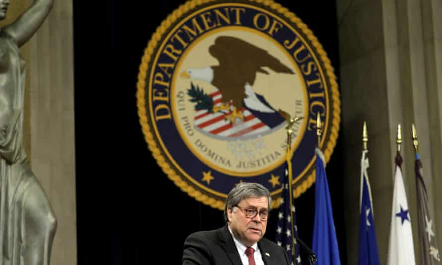 Attorney General William Barr speaks at a justice department event in February.