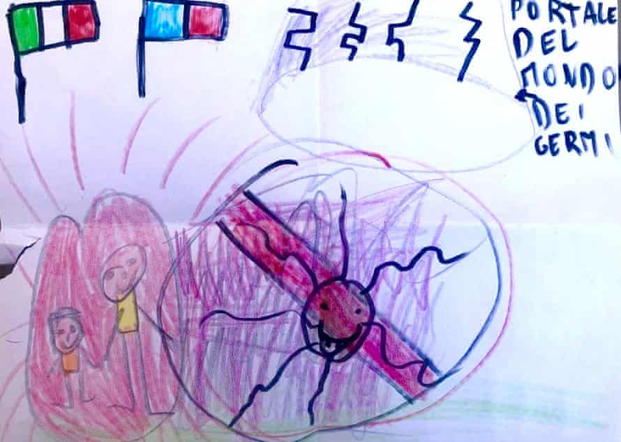 Andrea's drawing of a door to the dimension containing the coronavirus