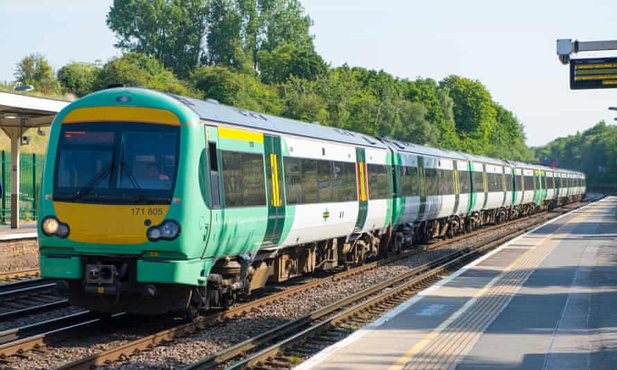 A Southern rail train at Honor Oak Park station in London.