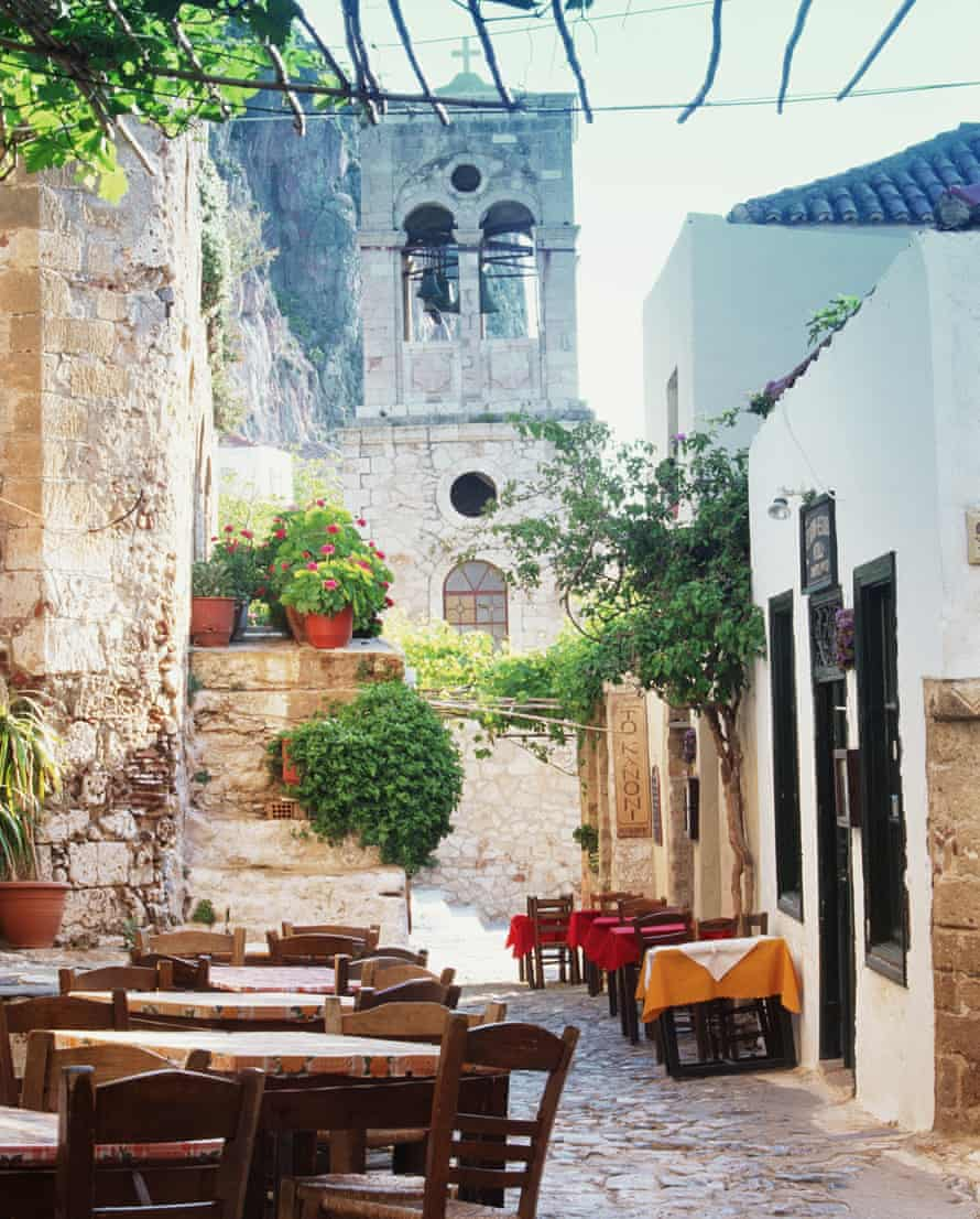 Eating out: Hydra's maze of tiny streets are filled with the tables of restaurants.