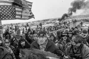 A group of peaceful protesters at the Oceti Sakowin Camp, February 2017