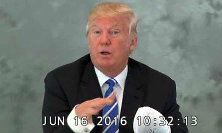 Donald Trump speaks during a videotaped deposition on 16 June 2016.