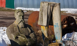 A two-year hunt … the severed statue in the Ukraine village of Mala Pereshchepina.