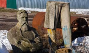 The statue of Friedrich Engels in eastern Ukraine last year.
