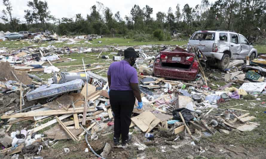 Homes destroyed in Windsor, North Carolina by Hurricane Isaias, which tore through the state on Tuesday.