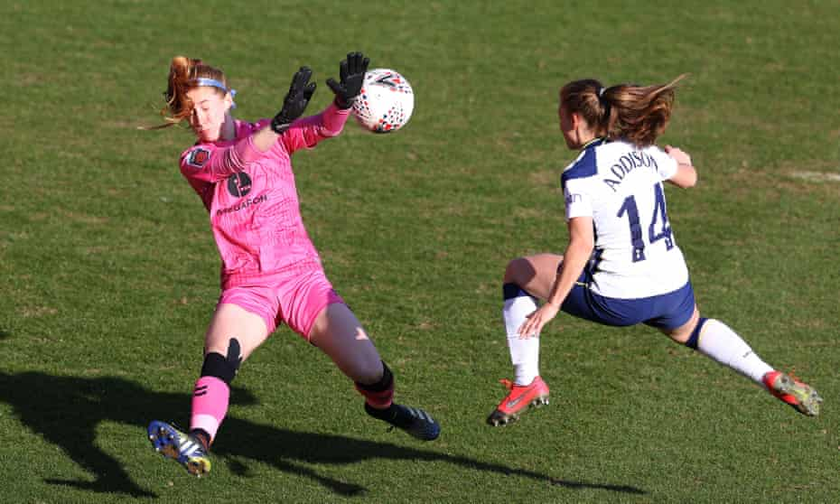 Angela Addison scores Tottenham's first goal against Everton on Sunday.