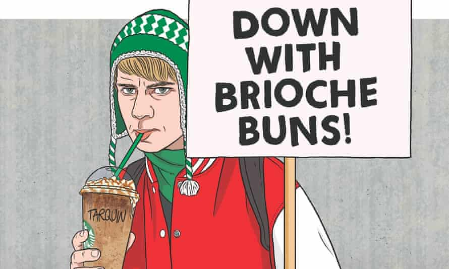 Illustration of an anti-gentrification warrior holding placard that reads: 'Down with brioche buns!'
