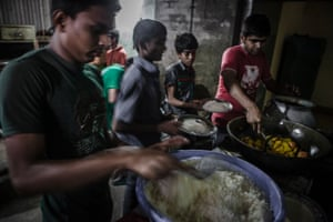 Street children are served food at the centre