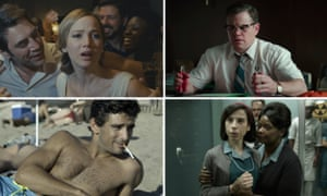 Awards hopefuls … clockwise from top left, Mother!, Suburbicon, The Shape of Water and Mektoub, My Love: Canto Uno