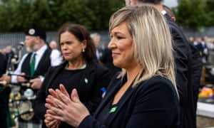 Northern Ireland's deputy first minister, Michelle O'Neill of Sinn Féin at the funeral of Bobby Storey in west Belfast on Tuesday.