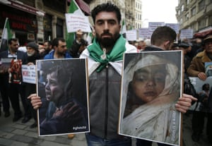 People protesting against airstrikes and shelling in eastern Ghouta, Syria, protest outside the Russian consulate in Istanbul, Turkey