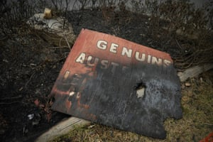 A burnt business sign