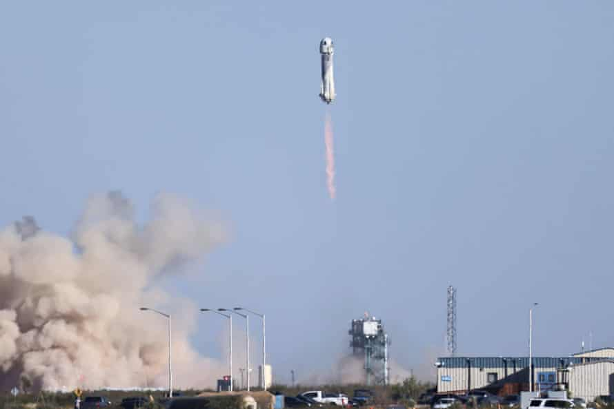 Blue Origin's rocket New Shepard blasts off carrying Star Trek actor William Shatner, 90, on billionaire Jeff Bezos's company's second suborbital tourism flight near Van Horn, Texas, on Wednesday.