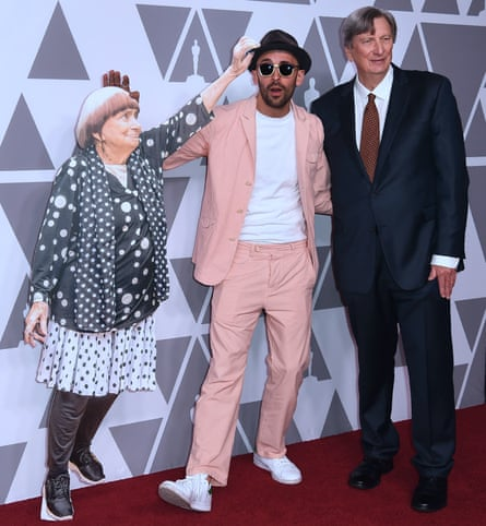 A Varda cutout with co-director JR and (right) John Bailey, president of the Academy of Motion Pictures.