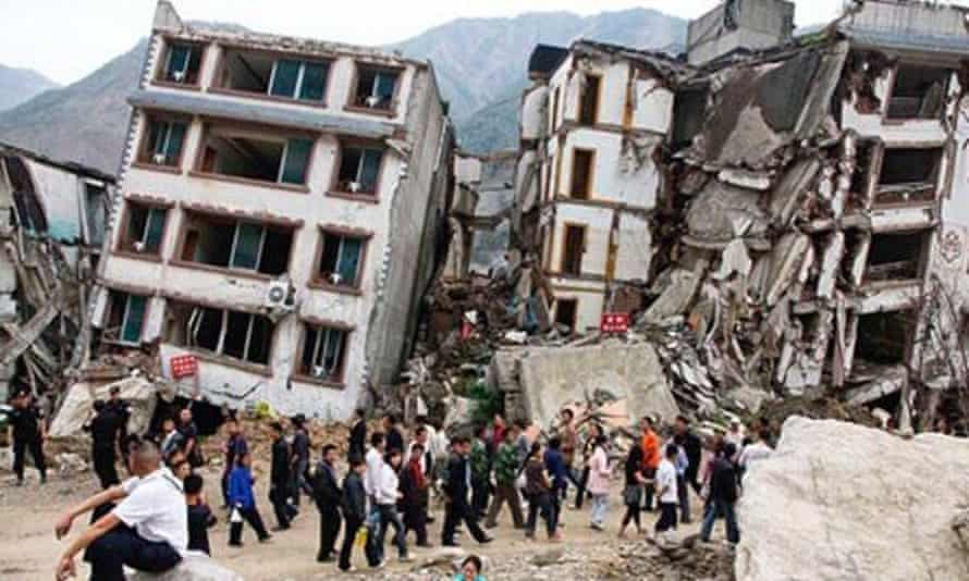 Collapsed buildings in Kathmandu after the earthquake hit Nepal.