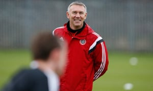 Sheffield United's manager, Nigel Adkins takes a training session before their third round FA Cup tie against Manchester Utd